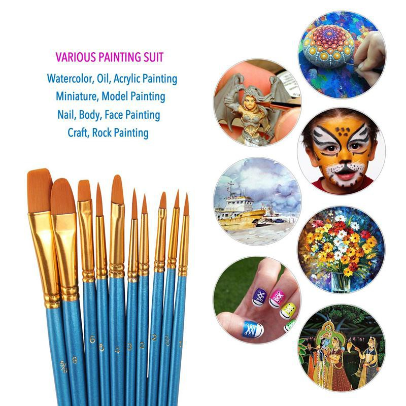 Paint Brushes Set Oil Nail 10pcs Paintbrushes Flat//Shader Tip for Watercolor Face Paint Blue Brush Acrylic Painting and Craft