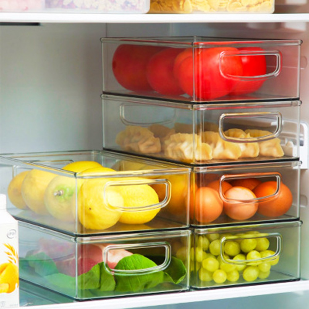 Kitchen Refrigerator Long Handle Storage Box Transparent Fruit And Vegetable Beverage Storage Box With Handle Shopee Philippines