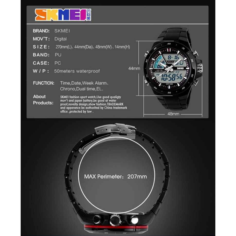 SKMEI 1016 Original Men Double Time EL Digital Watch