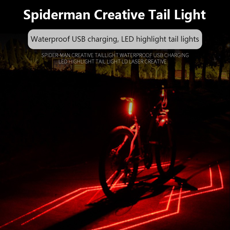 USB Rechargeable Bicycle Spider Laser Rear Light Night Cycling Safety Warning