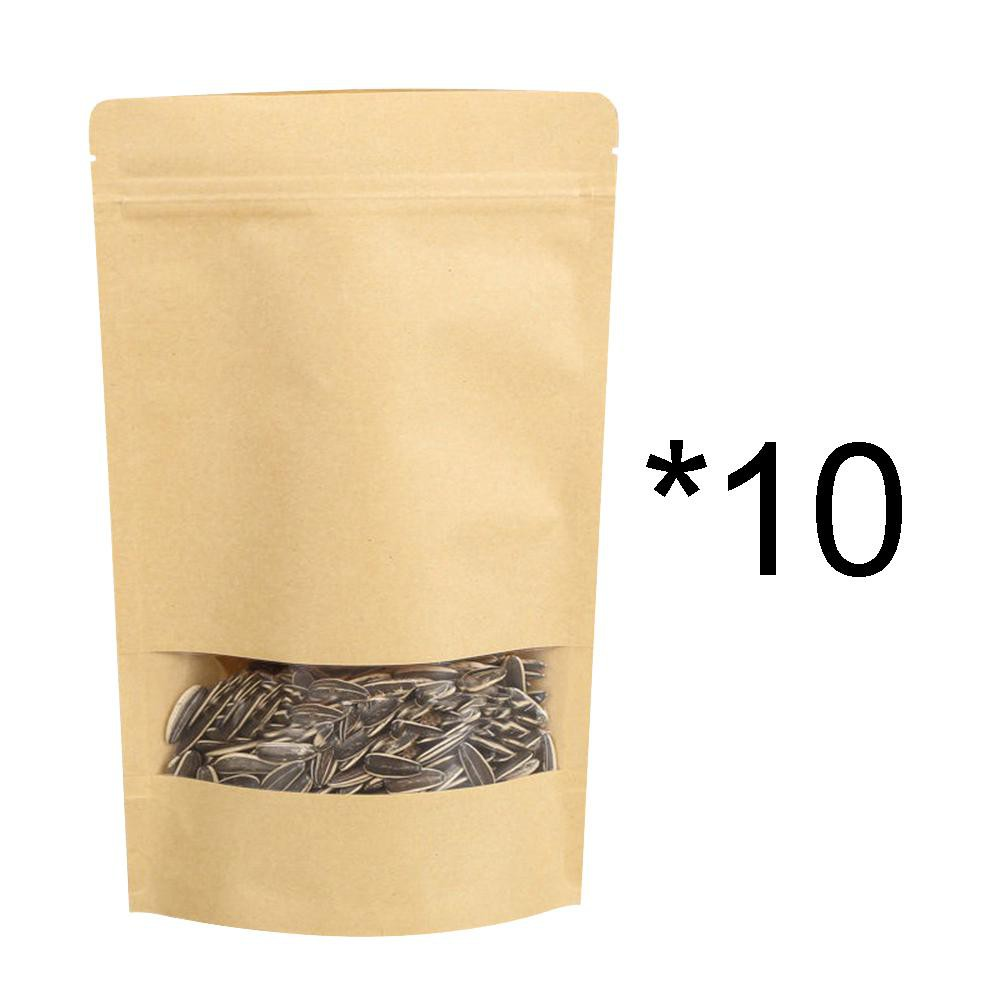 Stand Up Kraft Paper Bags Ziplock Resealable Food Pouch Gift With Clear Window
