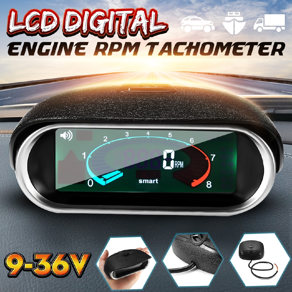12V Universal Car LCD 50-9999RPM Tachometer Digital Engine