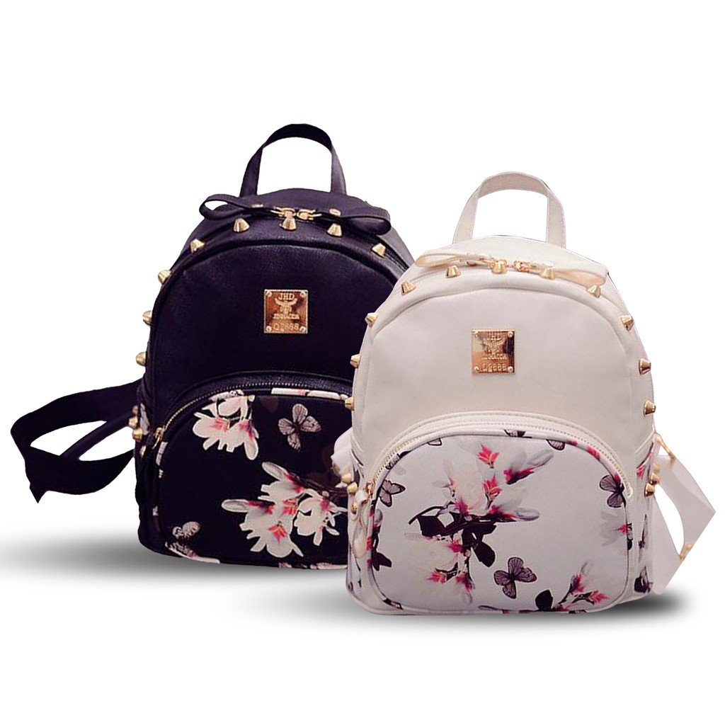 Korean Leather Backpack Floral Studs Shopee Philippines