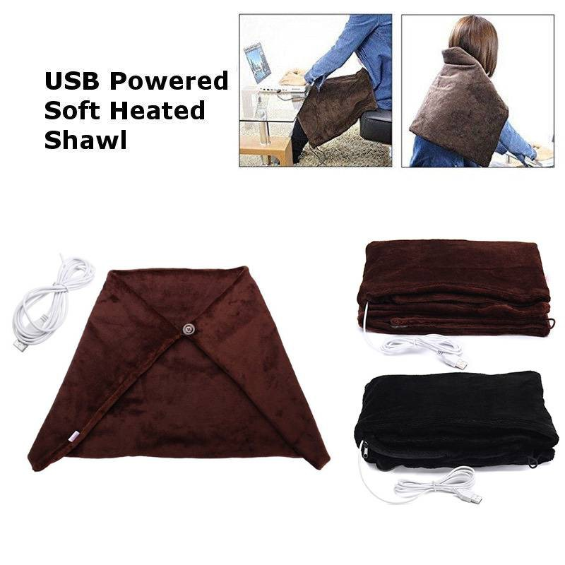 USB Heated Shawl and Lap Blanket,5V Winter Heating Lap Shoulder Blanket,Electric Warming Heated Throw Blanket Pad for Office,Sofa Use