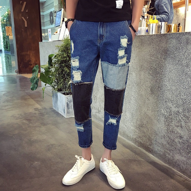Men's Holes Jeans Straight Leg Slim Casual Denim Pants