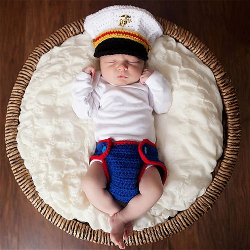 33fdea42ac7be Navy Costume Photo Prop Knitted Baby Hat and Diaper Set