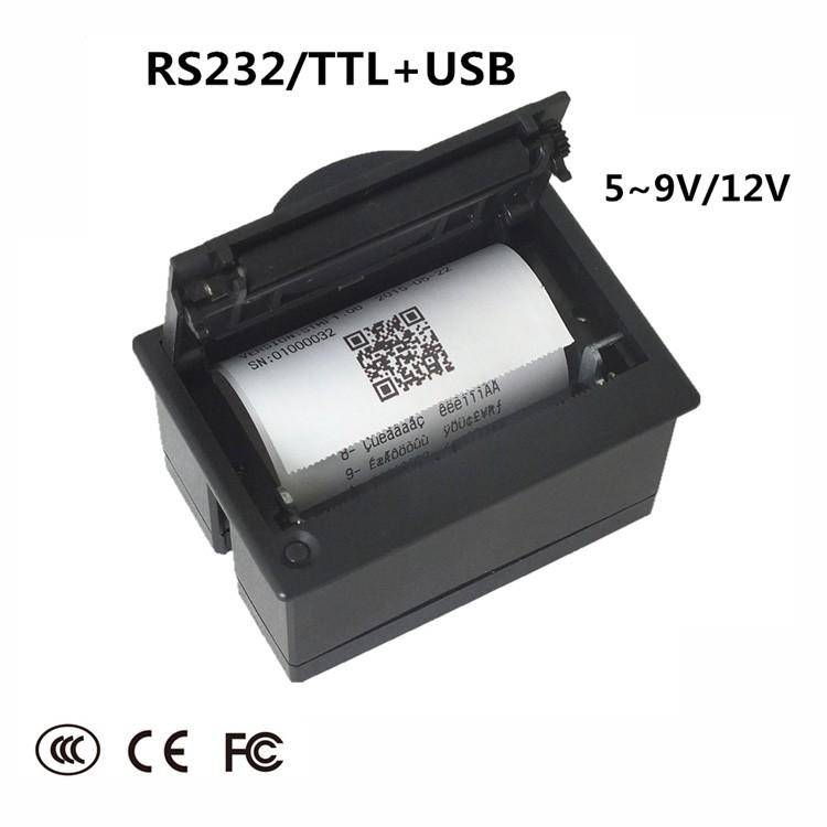 Micro Embedded Receipt Thermal Printer RS232/TTL+USB QR-204