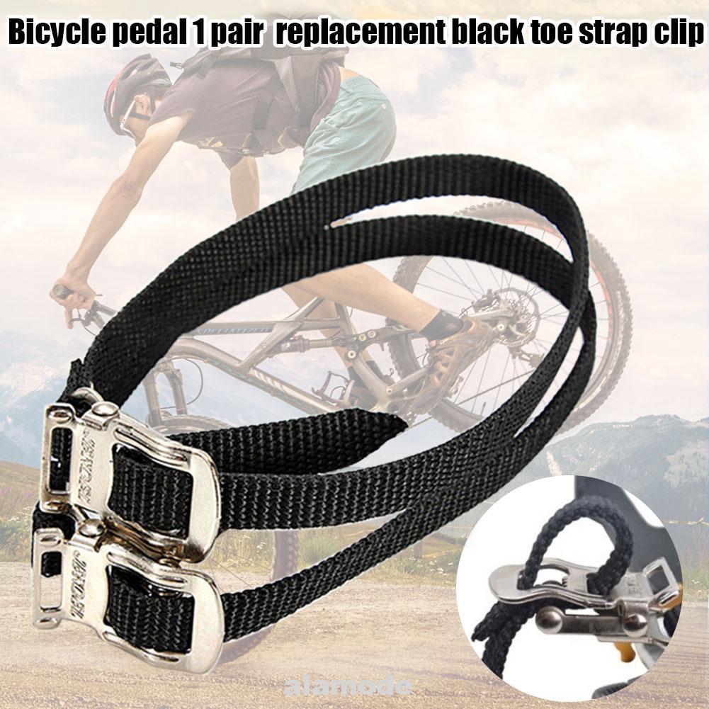 2*MTB BMX Bike Cycling Pedal Nylon Pair Clips Replacement Black Pedal Toe Straps