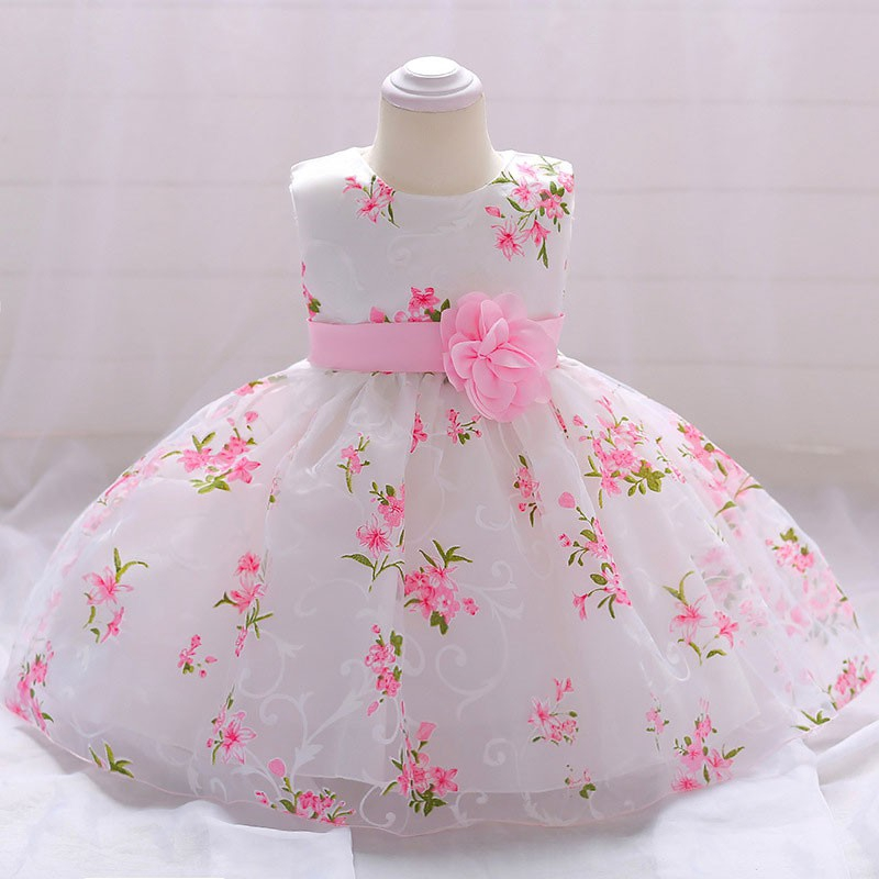 New Sleeveless Christening Baby Girls Dress Baptism Wedding Party Kids Clothes