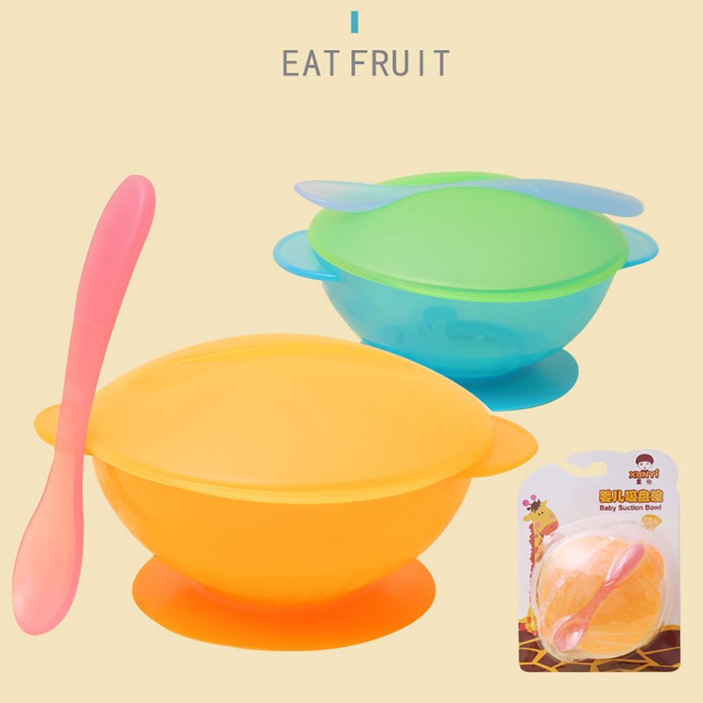 Safety Heat-resistant Non-toxic Anti-slip Baby Tableware Suction Bowl Lid Scoop