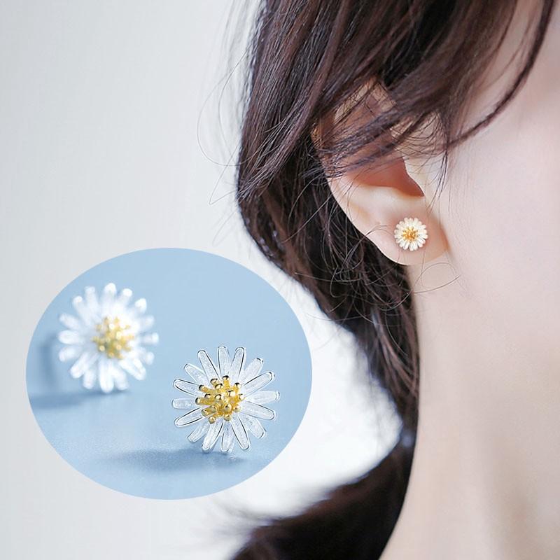 flower earrings sterling silver flower stud earrings flower stud earrings,flower earstuds daisy earrings,daisy stud earrings,daisy flower