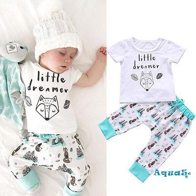 Baby Kids Toddler Boy Printed Tops Pants Leggings Outfits Clothes Set 0-3 Y 2-3 Years, Short Sleeve