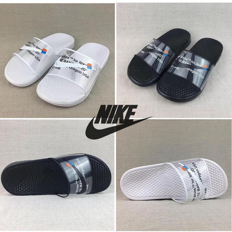 new style e05d5 005f0 linfafvip STAF OFF WHITE x NIKE BENASS Slipper GHOSTING Men/Women Slipper  sandals Authentic