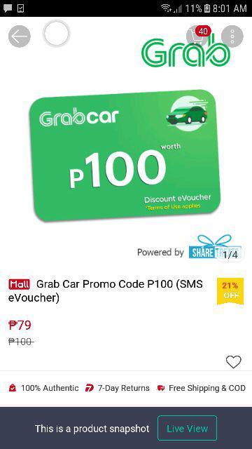 Grab Car Promo Code P200 (SMS eVoucher) | Shopee Philippines