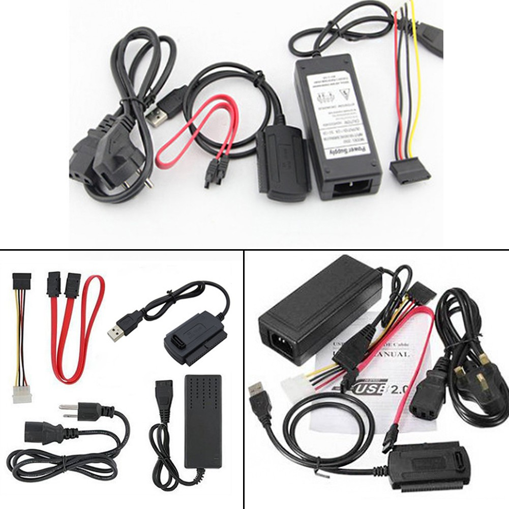 🍄Hard Drive Cable Data Adapter Kit Black Accessories Usb To Ide/Sata 3 In 1