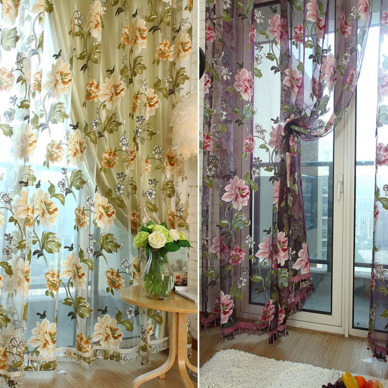 100cm x 200cm Elegant Floral Sheer Tulle Voile Curtain Window Panel Drape Scarf Valances Curtains Ne
