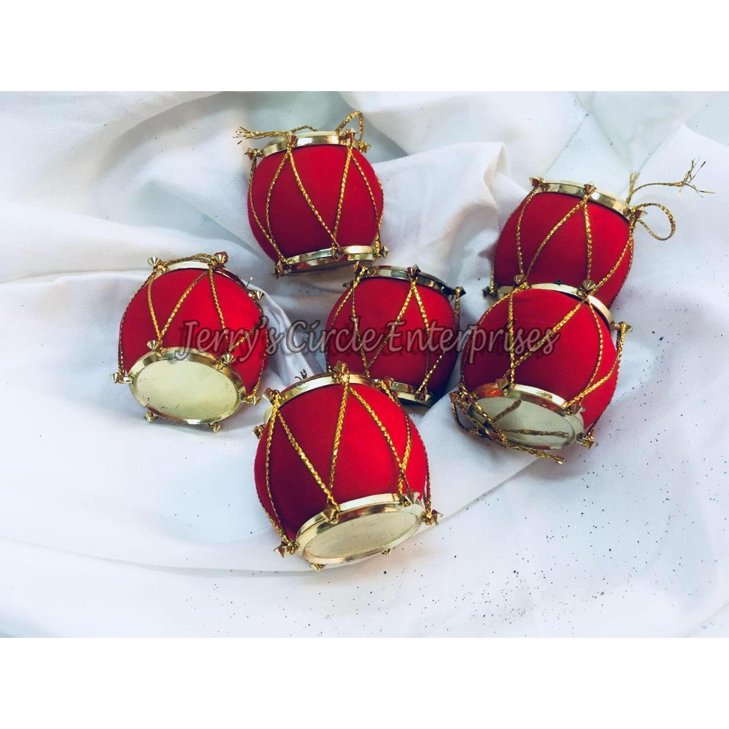 Christmas Drum Decor.Hx 005 3cm 6pc Red Drum Christmas Decor