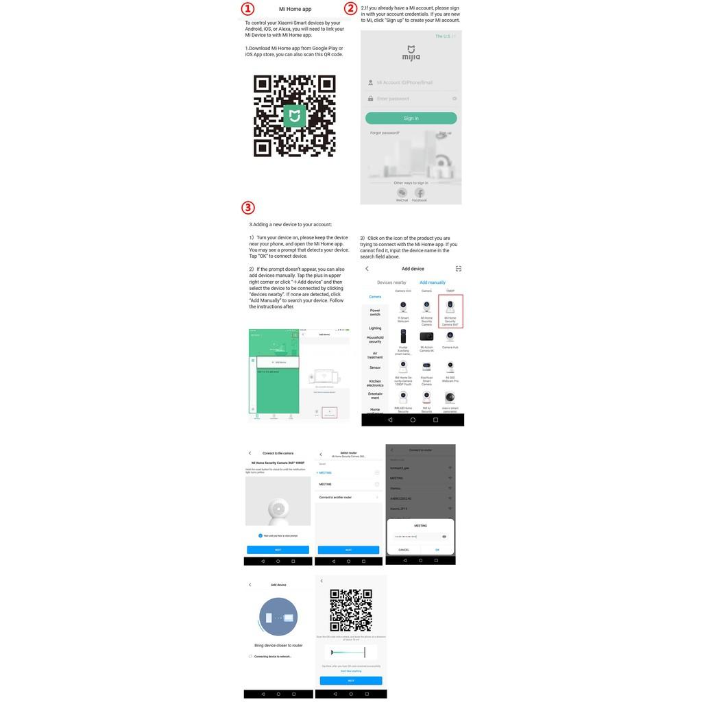 Xiaomi Mi Home Smart Security Camera 1080P HD IP Camera 360 Degree Night  Vision Cradle Head