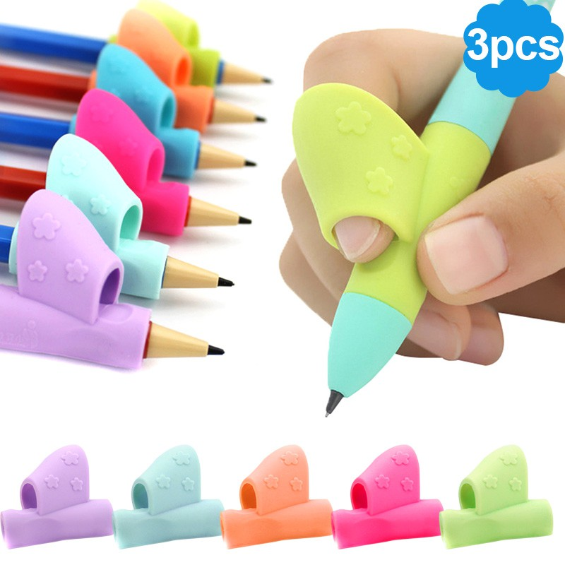 Hearty 3pcs Children Pencil Holder Pen Writing Aid Grip Posture Correction Device Tool Pencil Holding Pratise Device Baby Kids Learning School & Educational Supplies Stationery Set