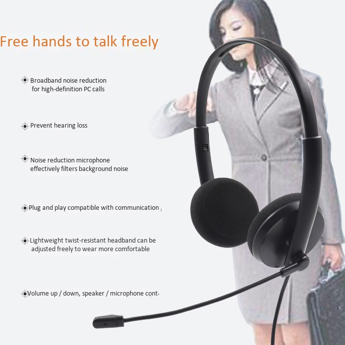 USB Call Center Headset With Noise Cancelling Mic For PC
