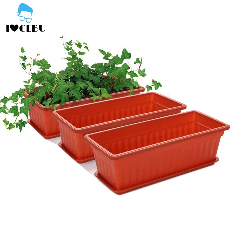 Ready Stock 3 Packs 17 Inches Terracotta Color Flower Window Box Plastic Planters Cod Nnp Shopee Philippines