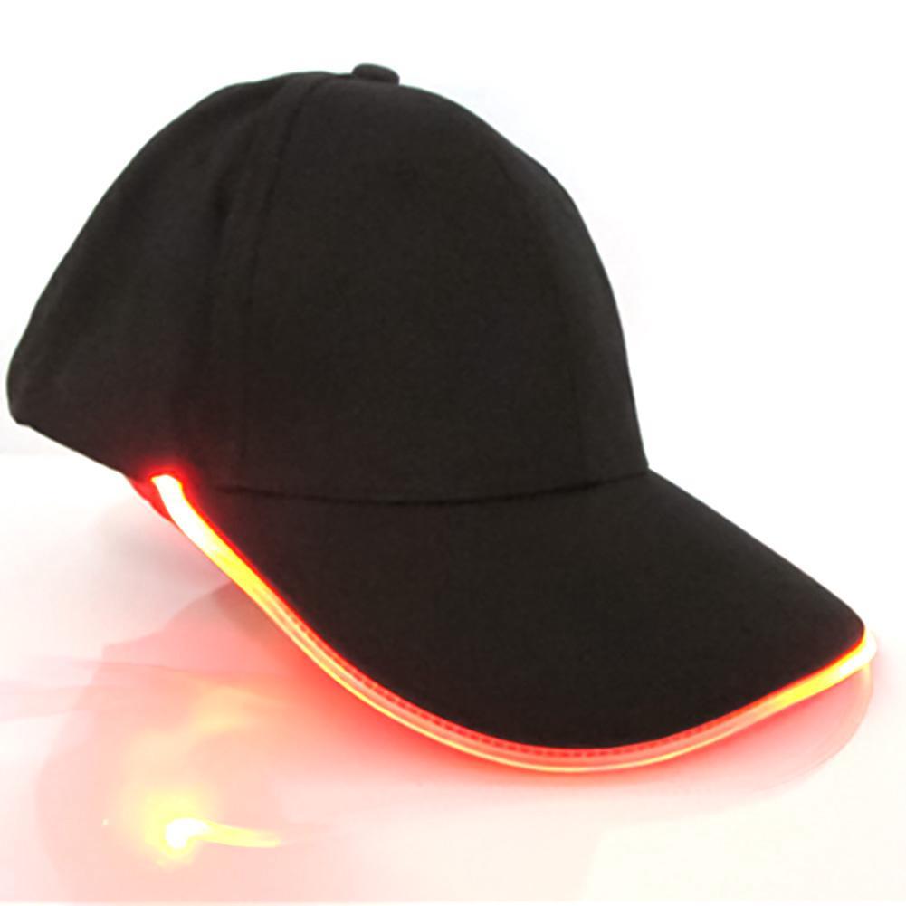 LED Baseball Black Cap with Lights Adjustable Strap Hat Fishing Camping Hiking