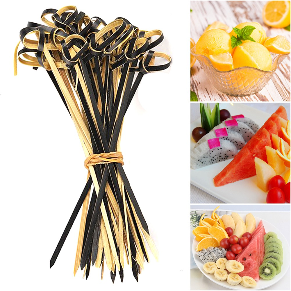Kitchen /& Bar Barbeque Bamboo Knot Skewers Cocktail Picks Stick Fruit Forks