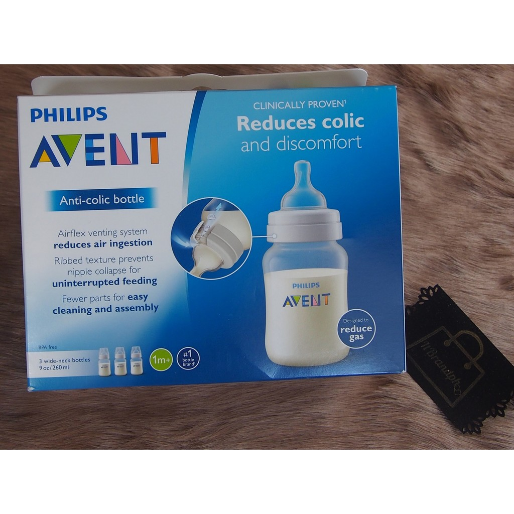 BPA Free 9 Oz Clear Philips Avent Anti Colic Bottle 4 Wide Neck Bottles