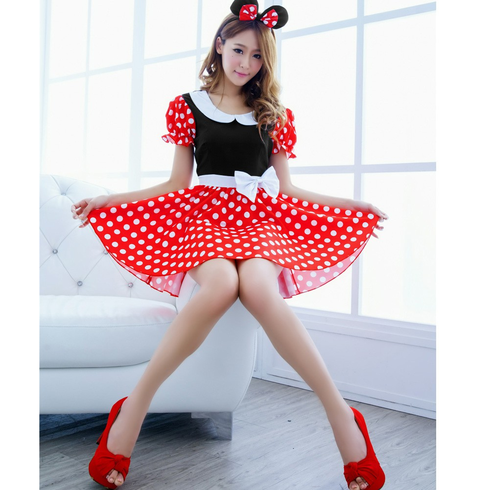 Minnie Mouse Christmas Dress.Sexy Christmas Minnie Mouse Women Xmas Costume Cosplay Dress Up Outfit Ear