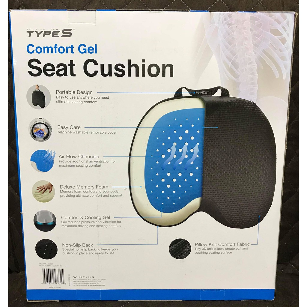 WINPLUS Ultimate Comfort Gel Support Memory Foam Seat Cushion Car//Office//Stadium