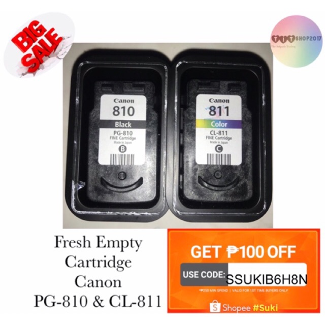 "Genuine Canon ""EMPTY"" cartridge PG-810 & CL-811"