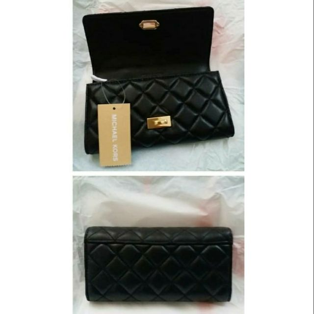 fe4264347b92 Michael Kors Astrid Black Quilted Leather Carryall Wallet | Shopee  Philippines