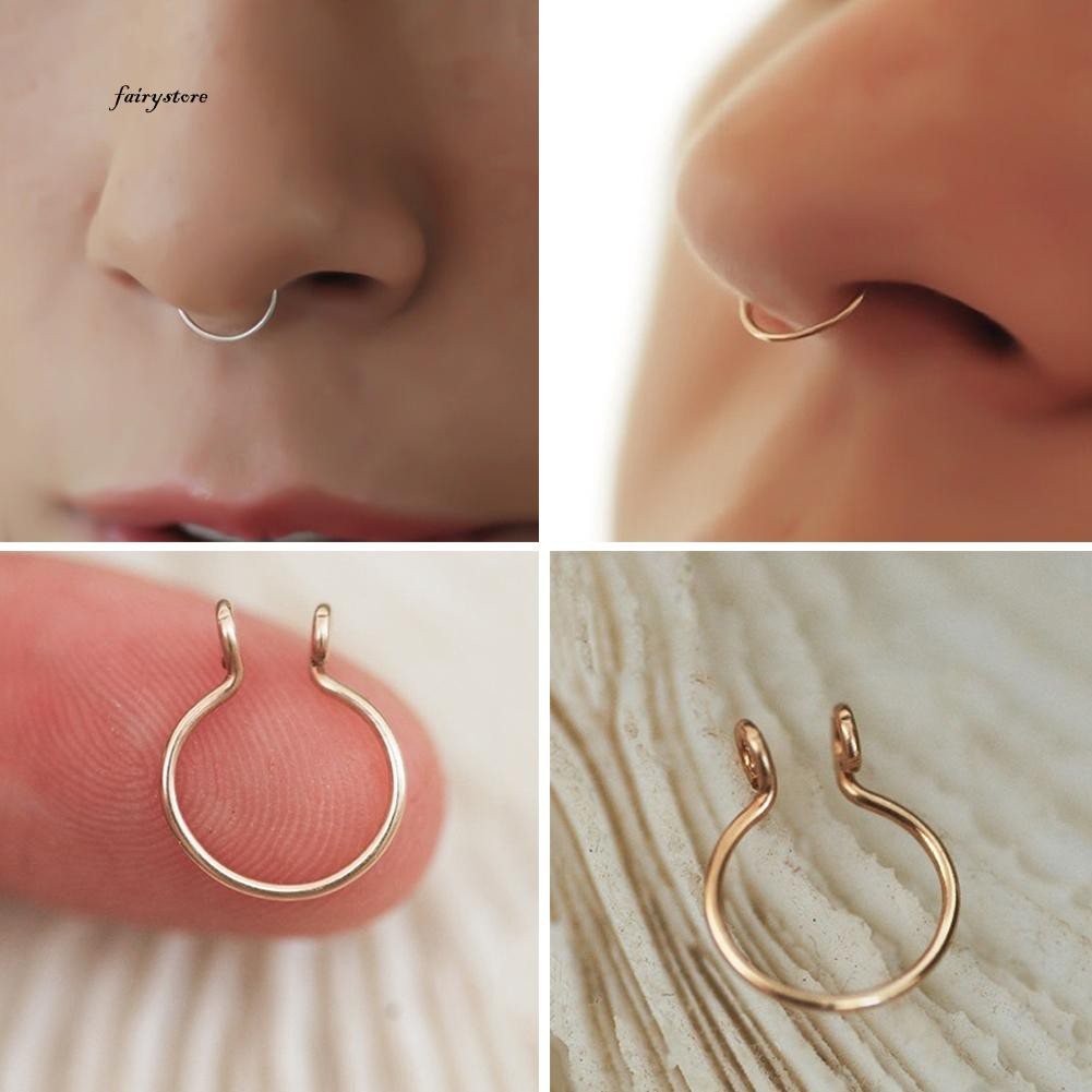 13dc749adeb Fairy&Fashion Thin Brass Non-Piercing Loop Open Nose Ring Women Jewelry  Charm Decor