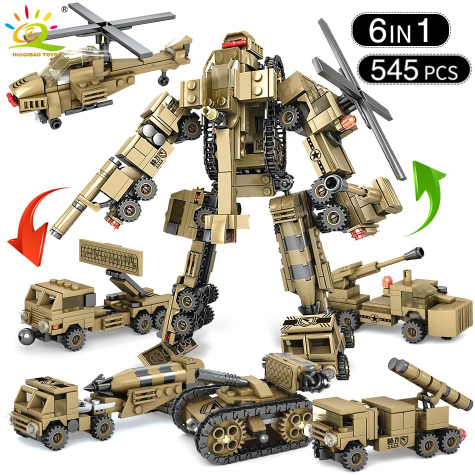 Lower Price with 750pcs 8 In 3 Helicopter Tank Truck Building Blocks Figures Compatible With Legoed Army Bricks Toy Swat Robot Helicopter Various Styles Toys & Hobbies