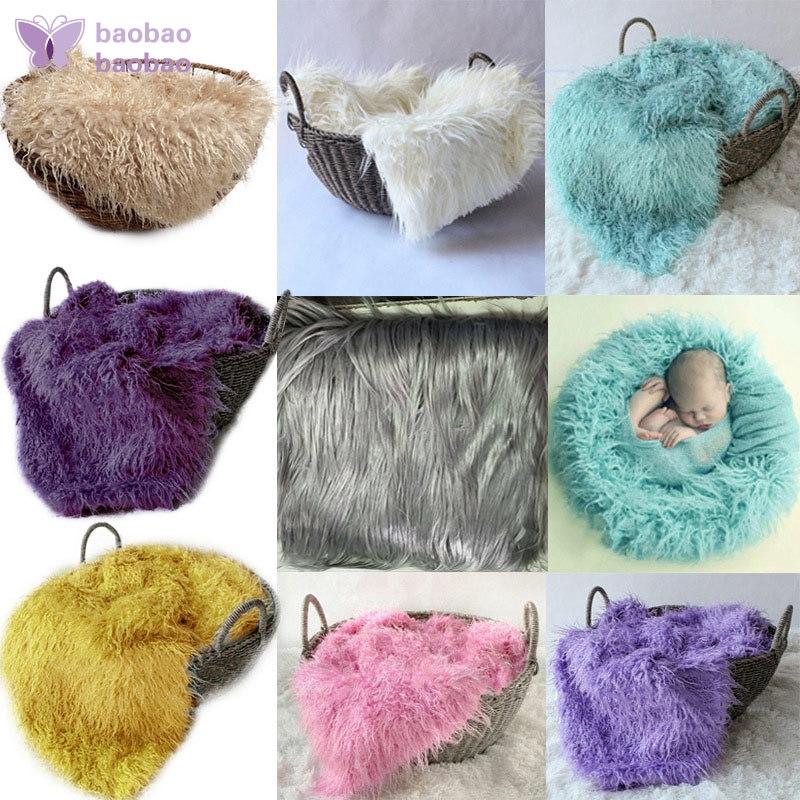 b03e76bd6 Faux Fur Newborn Infant Photography Prop Baby Blankets Basket Stuffer Cloth  Bed
