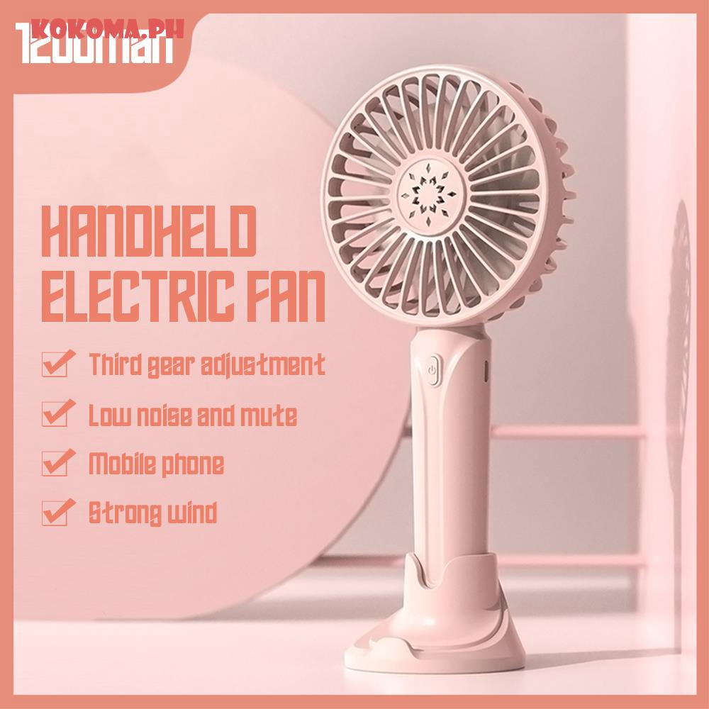 Air Cooler Handheld Rechargeable Mini Fan Portable Foldable USB Fan with Phone Stand Air Cooler Racket Fan Color : Pink