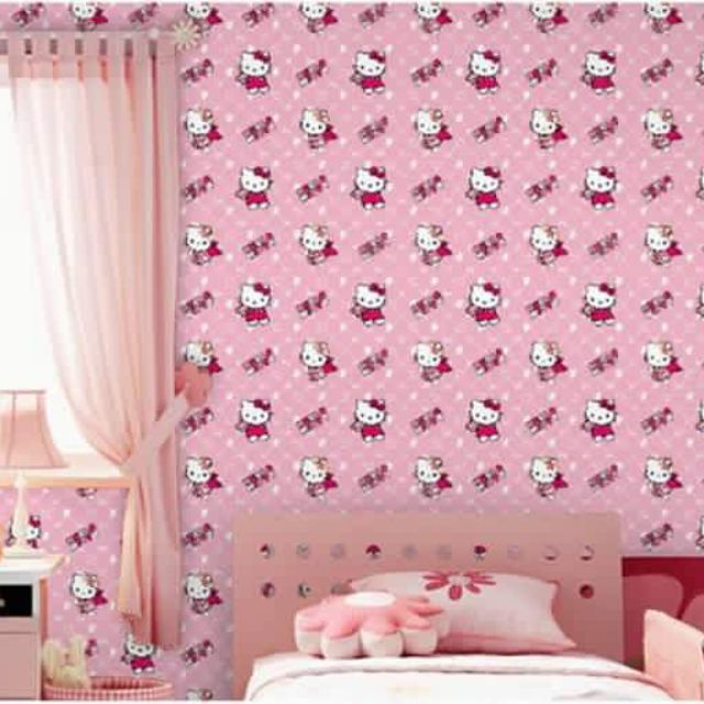 Wallpaper Pvc Type With Pink Color Hello Kitty Design Shopee Philippines