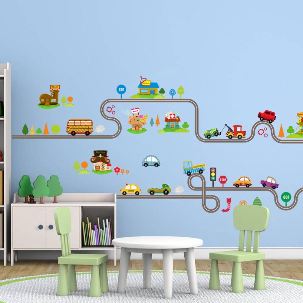 147x40cm Kids Bedroom Wall Sticker Cartoon Car Home Decor