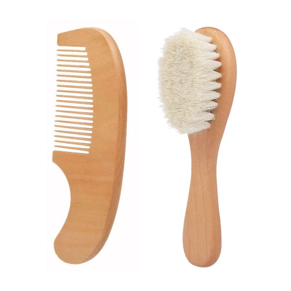 Wooden Handle Brush Baby Hairbrush Newborn Hair Brush Infant Comb Head Massagerf