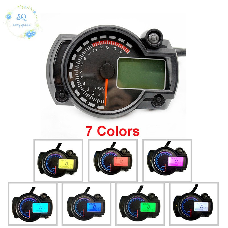 7 Colour Motorcycle Universal Lcd Digital Speedometer