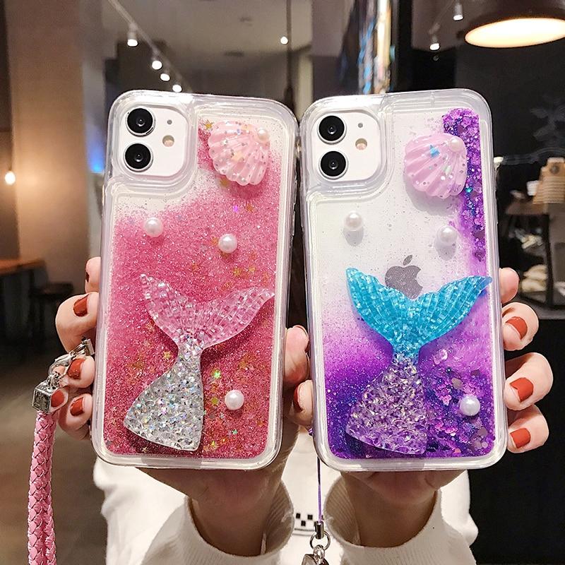 Hot 3D Mermaid Liquid Case iphone 11 pro max 6 6s 7 8 plus X XR XS MAX Cover Starfish Cartoon Quicksand Glitter with lanyard