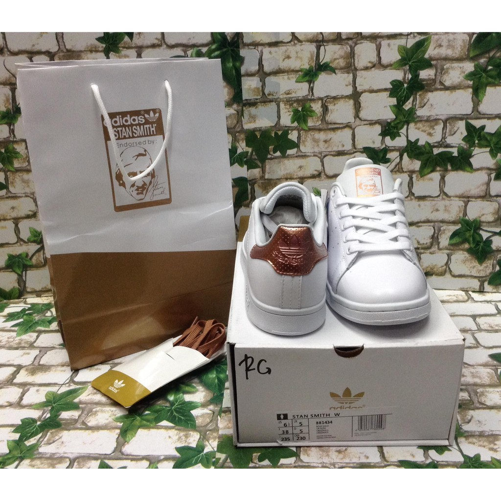 Adidas Stan Smith WhiteRose Gold Sneakers Women's Shoes & Clothing with Box, Paper Bag & Shoe Lace