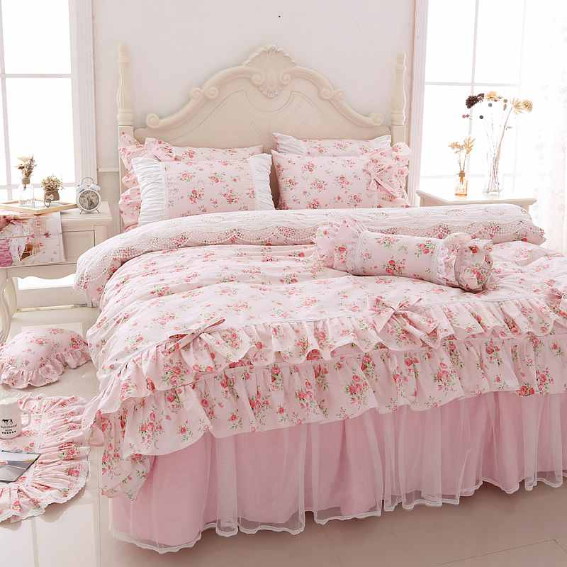 Korean Printing Lace Bedding Set Queen, Princess Bed Set Queen