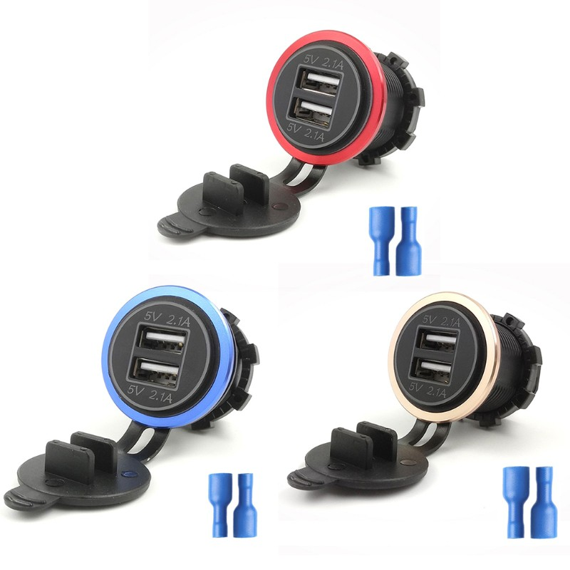 Car Dual USB Charger Voltmeter w// Cap Automatically Stop When Battery is Full