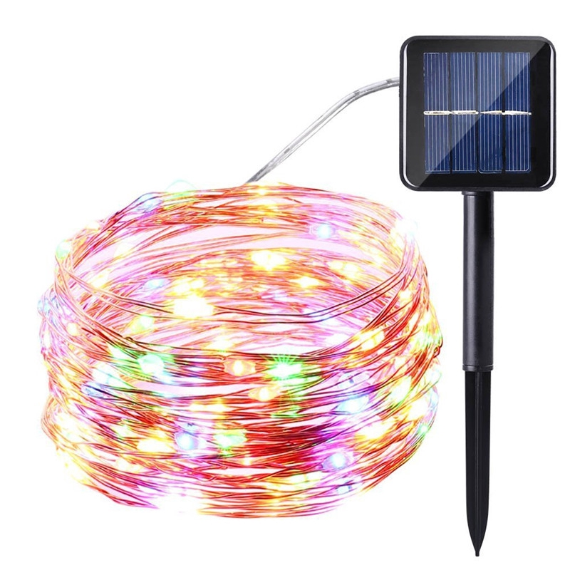 120led Solar String Fairy Lights Copper Wire Lights Waterproof Outdoor Garland Christmas Decoration Shopee Philippines