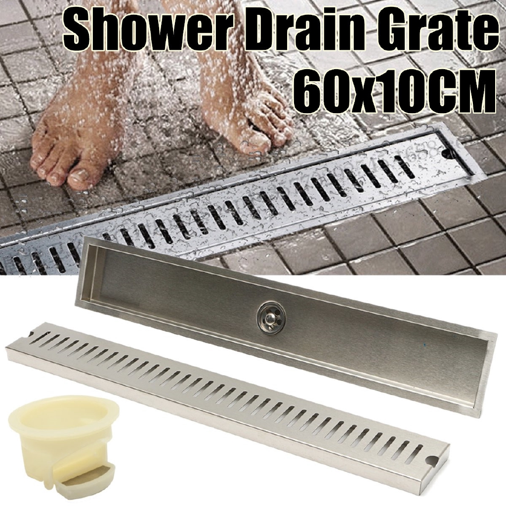 Brushed Stainless Steel Shower Insert Linear Drain Grate