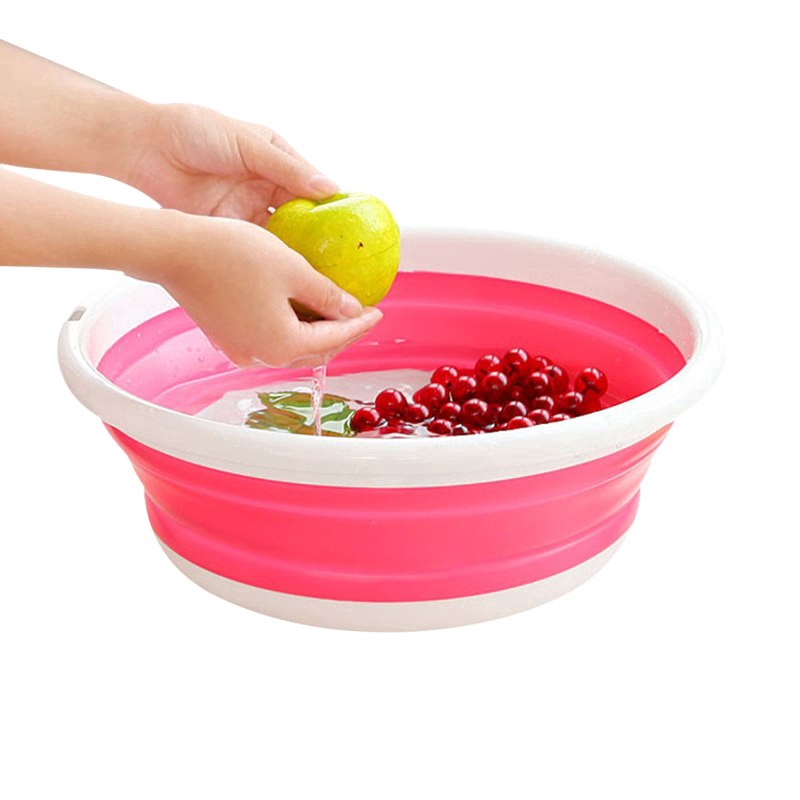 Home Washbasin Foldable Kitchen Bathroom Basin Camping Water Pot Fruit Bowl S//L