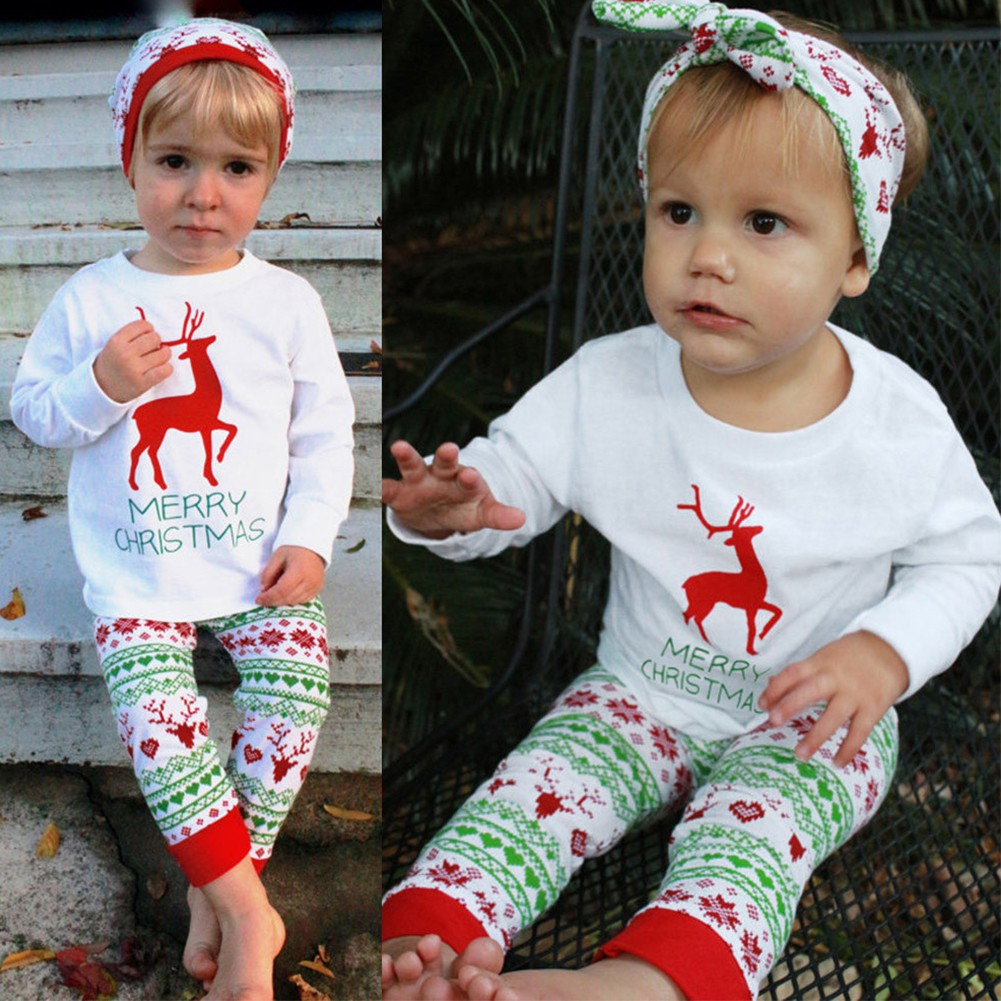 c2e394e592d20 Christmas Pajamas Baby Newborn Outfits Set Long Sleeve T-shirt  Tops+Pants+Hat