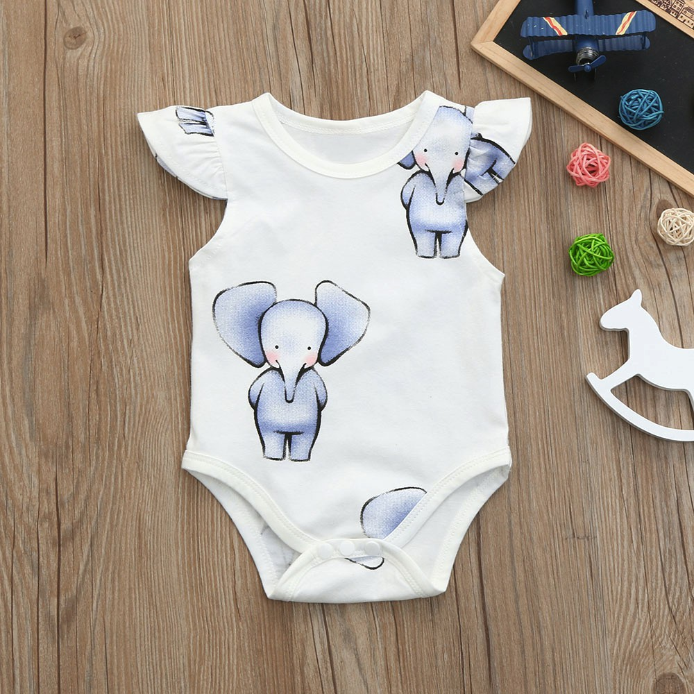 500b1ecaf ProductImage. ProductImage. Newborn Kids Baby Elephant Print Boys Girls  Clothes Jumpsuit