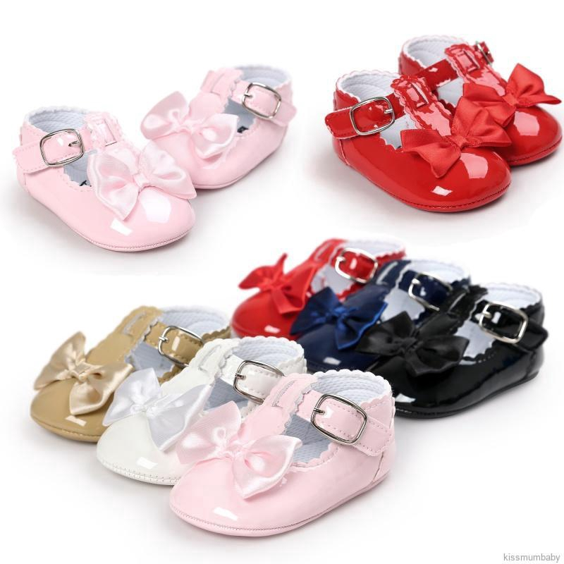 Infant Baby Girl Bow Anti Slip Leather Christening Pram Shoes Soft Sole Sneakers